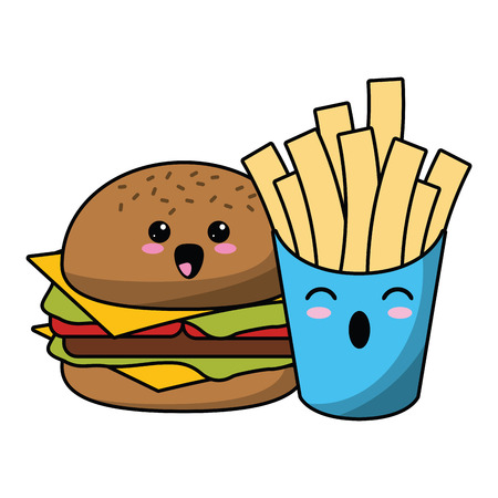 Fast food kawaii hamburger and french fries cartoon vector illustration graphic design Illustration