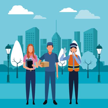 Trabajadores profesionales de puestos de trabajo y profesiones sobre paisaje urbano edificios paisaje ilustración vectorial diseño gráfico Ilustración de vector