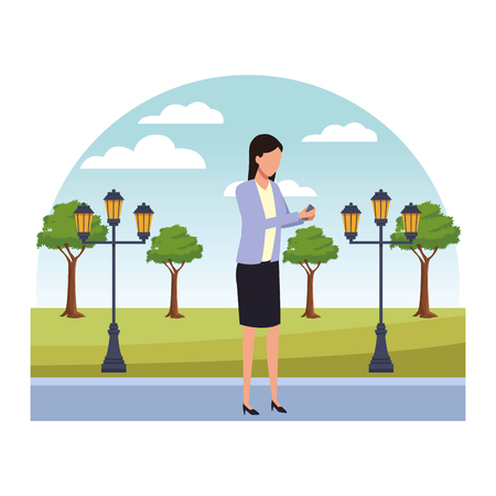 Businesswoman using smartphone cartoon in the park with streetlights scenery vector illustration graphic design