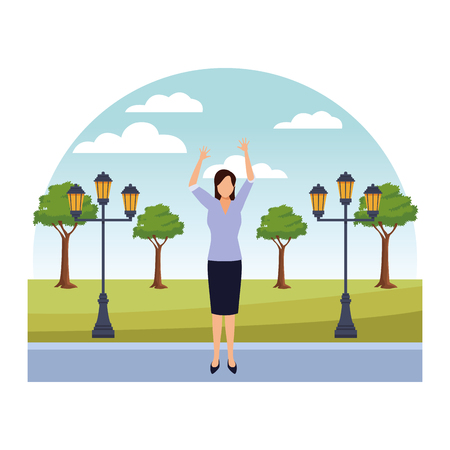 Businesswoman with arms up cartoon in the park with streetlights scenery vector illustration graphic design