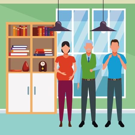 family avatar cartoon character grandparent pregnant indoor house vector illustration graphic design