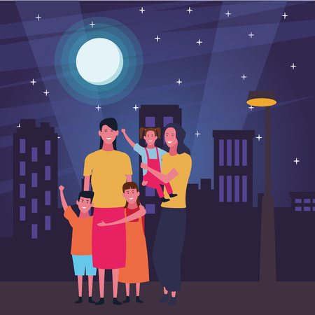Family single mothers with daughters and son in the street at night scenery