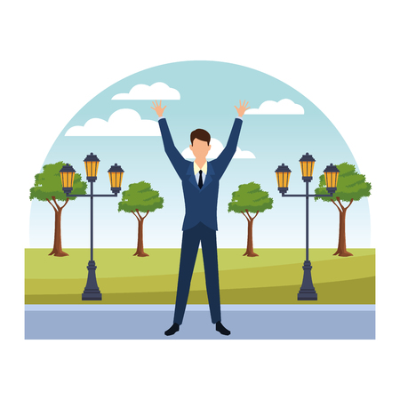 Businessman with arms up cartoon in the park with streetlights scenery vector illustration graphic design 向量圖像