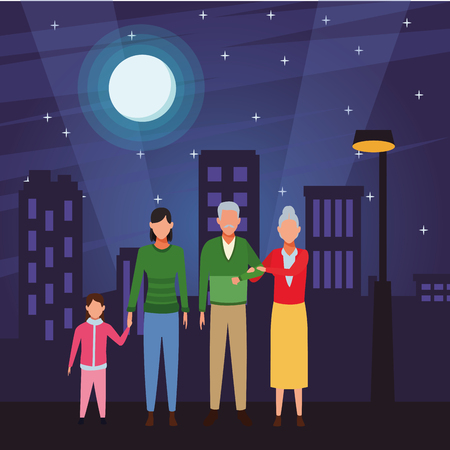 family avatar cartoon character wearing winter clothes grandparents woman child cityscape at night vector illustration graphic design Ilustração