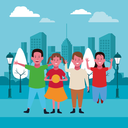 Kids friends smiling and playing cartoon in the city park urban scenery vector illustration graphicdesign