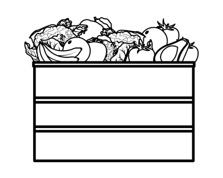 fruit and vegetables crates wooden icon cartoon isolated black and white vector illustration graphic design Banque d'images - 122787987
