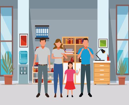 family avatar cartoon character child indoor house vector illustration graphic design Illustration