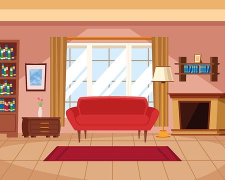 House interior with furniture scenery vector illustration graphic design Stok Fotoğraf - 122788041