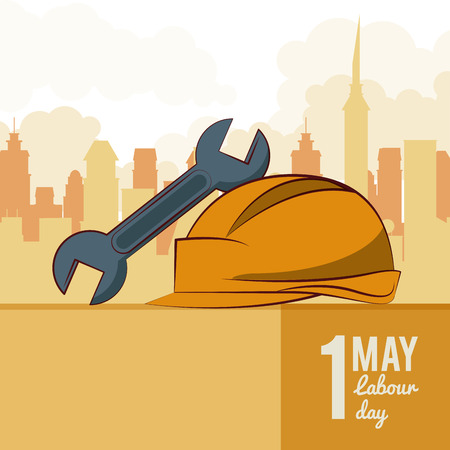 Labor day may eleven card with tool and cityscape vector illustration graphic design  イラスト・ベクター素材