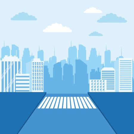 Urban cityscape scenery from street vector illustration graphic design