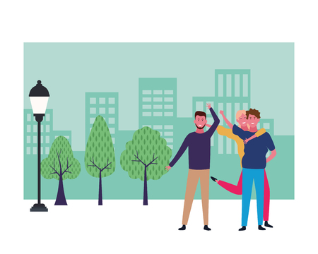 Happy people friends smiling and having fun cartoon at city park scenery frame vector illustration graphic design Иллюстрация