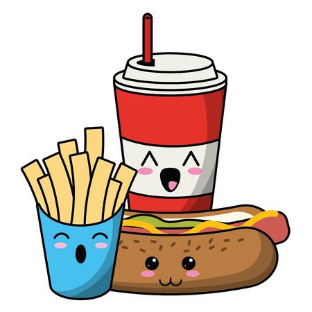 Fast food kawaii soda and hotdog with french fries cartoon vector illustration graphic design  イラスト・ベクター素材