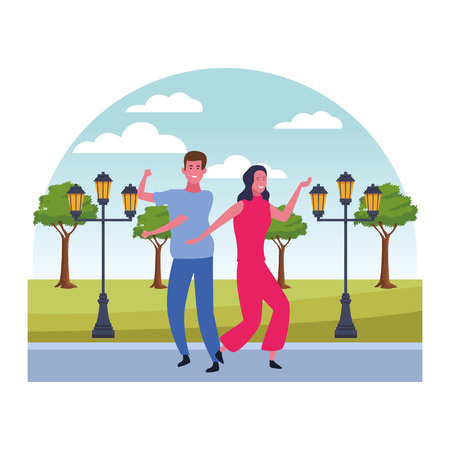 Happy couple having fun and dancing in nature landscape scenery vector illustration graphic design
