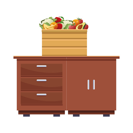 fruit and vegetables crates wooden icon cartoon isolated over kitchen table vector illustration graphic design Banque d'images - 121788595