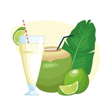 coconut beverage icon cartoon vector illustration graphic design Ilustração