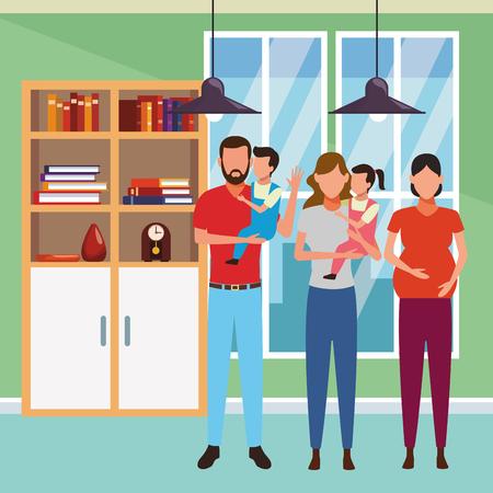 family avatar cartoon character pregnant children indoor house vector illustration graphic design Ilustrace