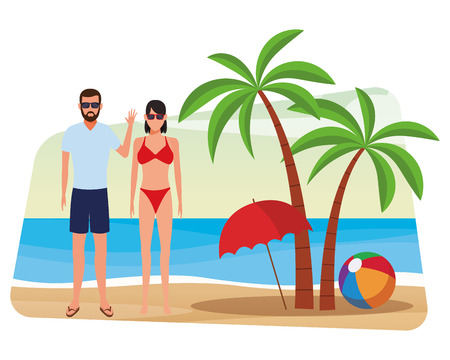 summer vacation family couple at beach cartoon vector illustration graphic design