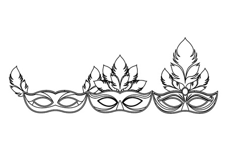 set of masks and feathers icon black and white vector illustration graphic design 스톡 콘텐츠 - 122788211