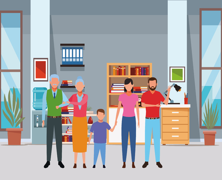 family avatar cartoon character grandparent child indoor house vector illustration graphic design Ilustrace