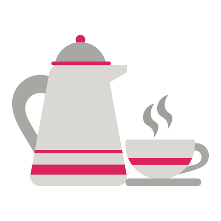 Coffee kettle and mug on dish cartoon vector illustration graphic design