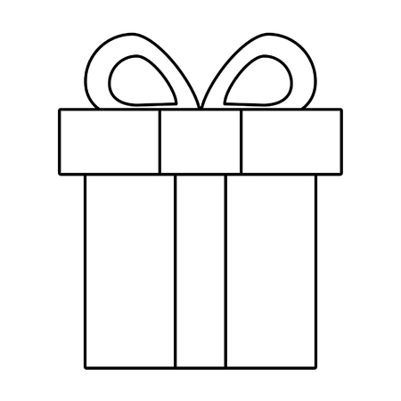 Gift in a box wrapped with a bow shopping isolated vector illustration graphic design Çizim
