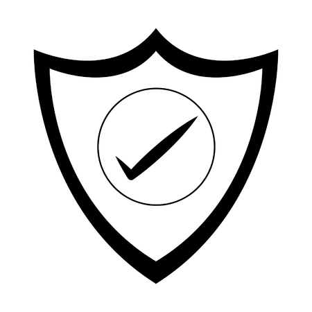 Shield protection online security with checkmark isolated vector illustration graphic design