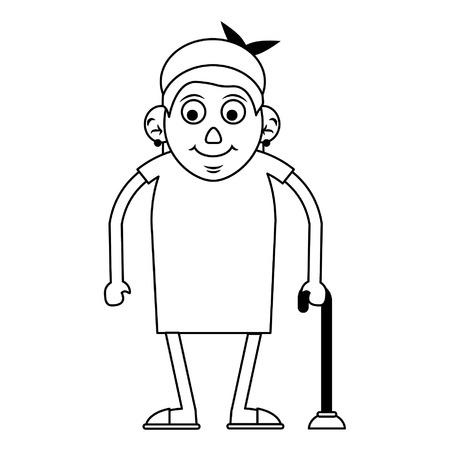 La nonna della donna anziana con una canna e un vestito ha isolato il disegno grafico dell'illustrazione di vettore isolato