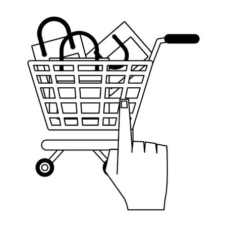Online shopping cart with bags and finger clicking vector illustration graphic design Ilustração