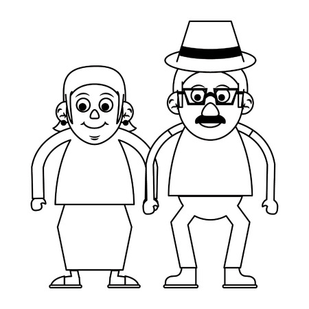 Elderly couple grandparents senior citizen with glasses vector illustration graphic design Ilustração