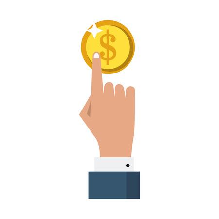 businessman hand pointing coin symbol vector illustration graphic design