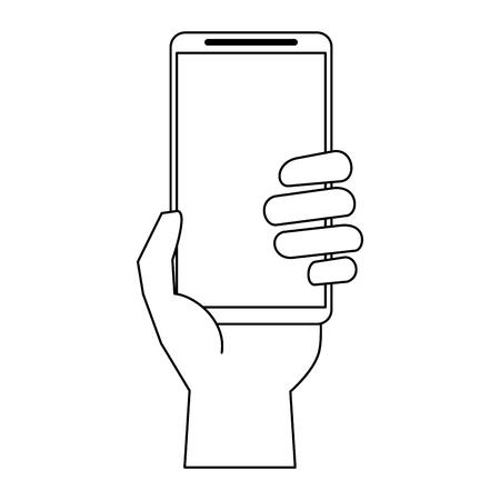 hand using smartphone cartoon vector illustration graphic design