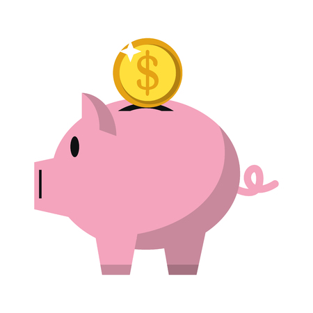 Money piggy coin symbol vector illustration graphic design 矢量图像