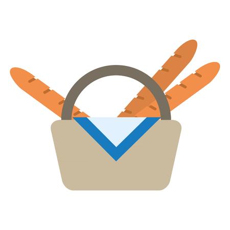 Picnic basket with baguettes vector illustration graphic design