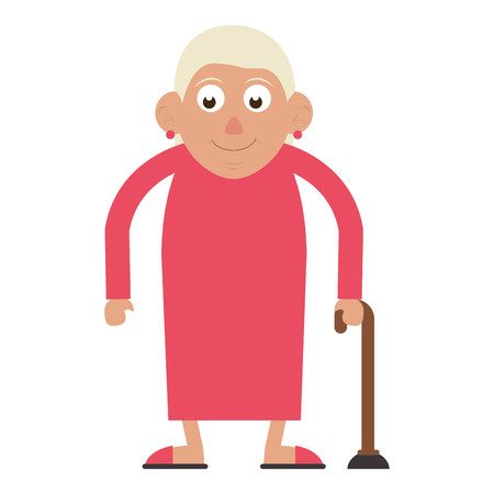 Elderly woman grandmother with a cane and dress isolated isolated vector illustration graphic design Standard-Bild - 122790464
