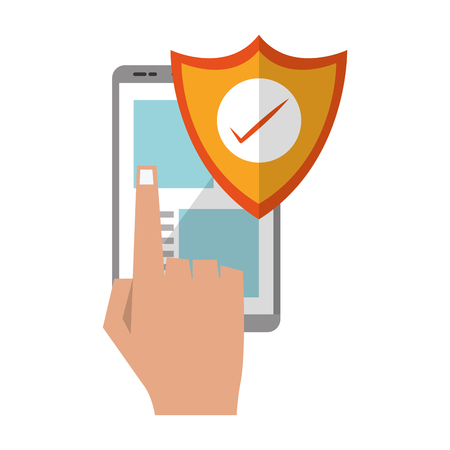 Tablet browsing online security with clicking hand isolated vector illustration graphic design