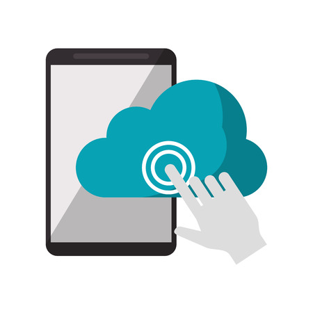 Cloud computing technology click on smartphone vector illustration graphic design