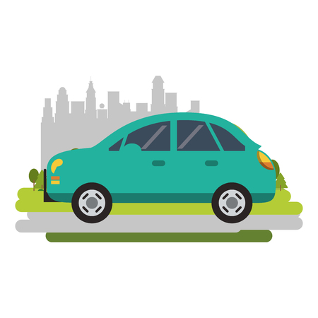 Car vehicle sedan isolated passing by city vector illustration graphic design
