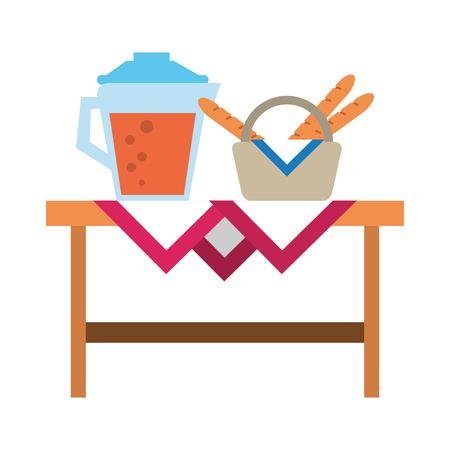 Healthy food cartoons juice jar juice and baguette in picnic basket vector illustration graphic design