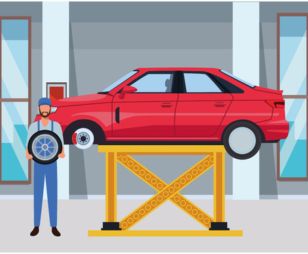 car service manufacturing worker assembling cartoon vector illustration graphic design