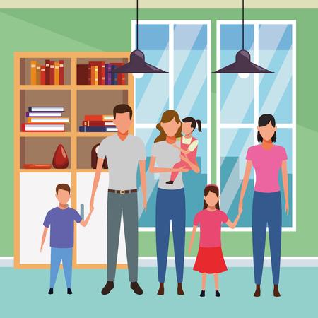 family avatar cartoon character children indoor house vector illustration graphic design Ilustrace