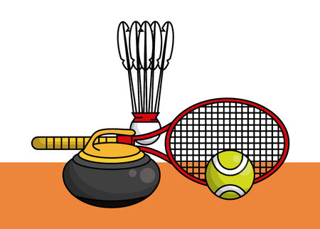 Sports balls equipment curling stone tennis racket fitness physical activity collection card vector illustration graphic design Illustration