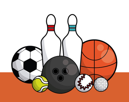Sports balls equipment bowling pins basketball tennis soccer fitness physical activity collection card vector illustration graphic design 向量圖像