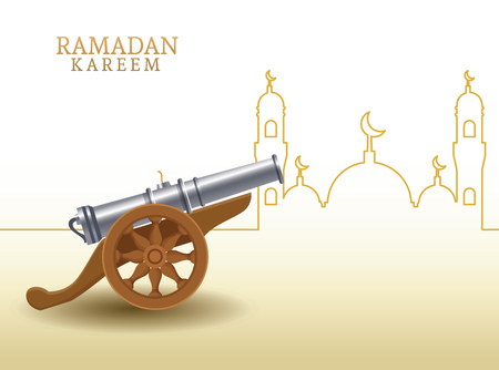 ramadan kareem with cannon and mosque shape ramadan kareem with oillamp and mosque shape vector illustration