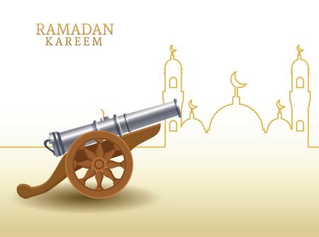 ramadan kareem with cannon and mosque shape ramadan kareem with oillamp and mosque shape vector illustration Illustration
