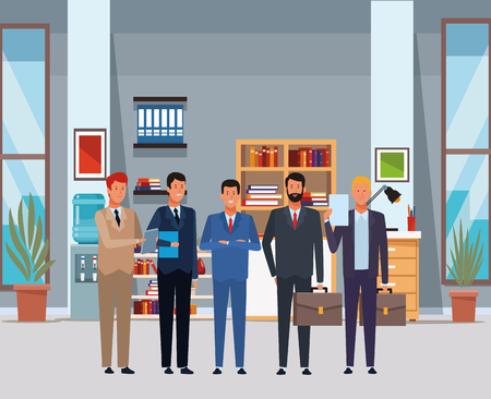 businessmen avatar cartoon character with briefcase and documents folder in the office vector illustration graphic design Vettoriali