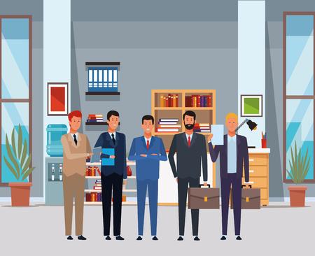 uomini d'affari avatar personaggio dei cartoni animati con valigetta e cartella documenti in ufficio illustrazione vettoriale graphic design Vettoriali