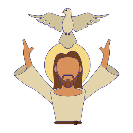 jesus christ man with arms open and dove cartoon vector illustration graphic design Illustration