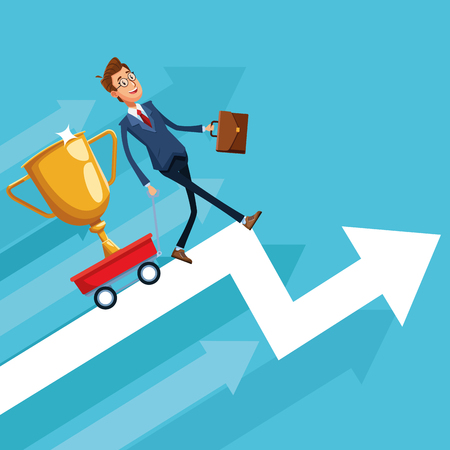 Businessman banker pulling trophy on cart cartoon vector illustration graphic design