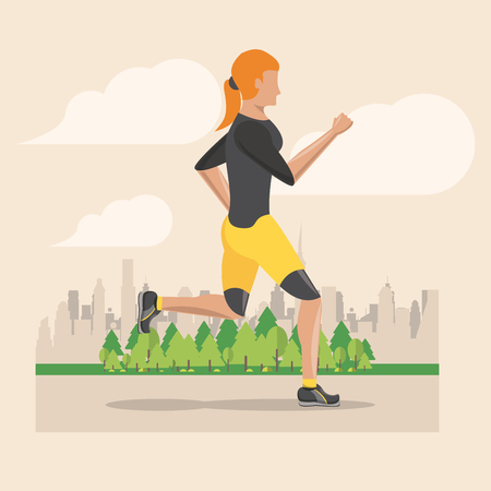 Fitness woman running in the city park scenery vector illustration graphic design