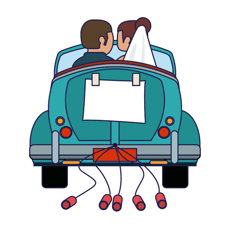 Wedding couple in vintage car with cans backward vector illustration graphic design Ilustrace